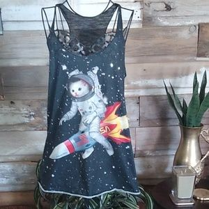 Bear Dance Space NASA Kitty Tank Top